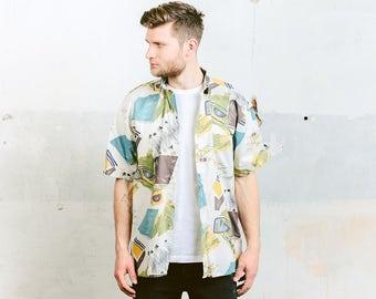 Pattern Shirt . Man Summer Shirt Vintage 90s Abstract Print Shirt Button Down Cotton Beach Short Sleeve Shirt . size Large L