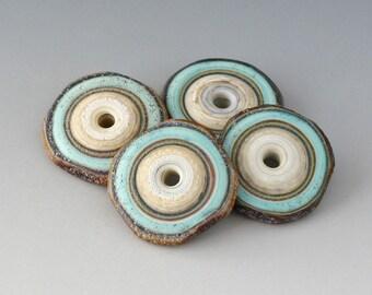 Rustic Disks - (4) Handmade Lampwork Beads - Bone Ivory, Mint Green