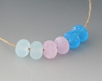 Rustic Gems- (6) Handmade Lampwork Beads - Pink, Aqua
