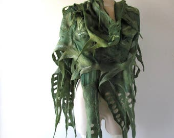 Nuno Felted scarf  Green felt scarf  Nuno felted stole  Green woodland shawl, Silk Wool shawl  felted shawl by Galafilc