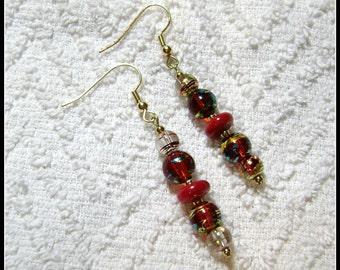 Bright Red Earrings - Disco Dangle Earrings - Earrings - Jewelry - Bright Colors - E-171