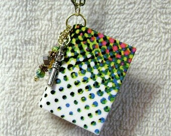 Best Friend Gift - Handmade Book Necklace - Book Jewelry - Book Pendant - Handmade Book -  Cotton Fabric - BN-22