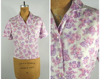 1950s Pink and Purple Floral Cotton Shirt // Button-Down Short sleeves Small Collar // Size 16 -34 - Early 1960s