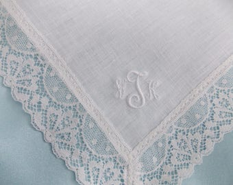Imported Custom Monogrammed Handkerchief 100% Irish Linen and Cathedral Lace Border-White Only