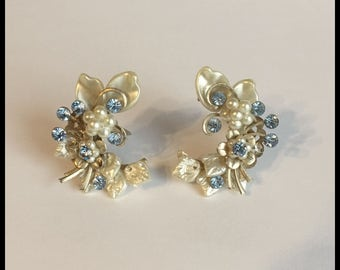 Clip on Blue Rhinestone Earrings, Faux Pearls, Gold Tone, Lightweight, Vintage 1960's