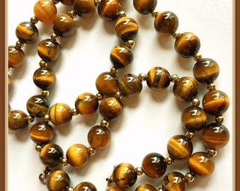 Tiger's Eye Necklace, Brown, Yellow, Chatoyant, Vintage 1980's