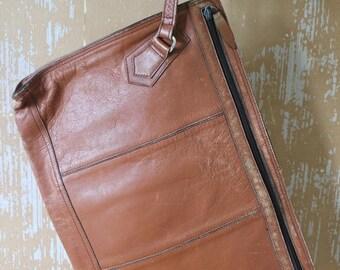 20% OFF SALE vintage. One of a Kind Rare 70s Vintage Worn Unique  Leather Clutch Briefcase Case  // X Large Case Clutch // 1970s Late 1960s