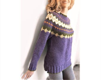 Fire Isle Knit Multicolor Round Joke Sweater Handmade Pullover Pilland Knits Natural Fiber Sweater Purple Knit Sweater Custom Color Knitwear