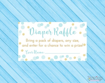 Blue and Gold Baby Shower Diaper Raffle Tickets - Boy Baby Shower Game - Blue Gold Glitter Confetti - PRINTABLE INSTANT DOWNLOAD