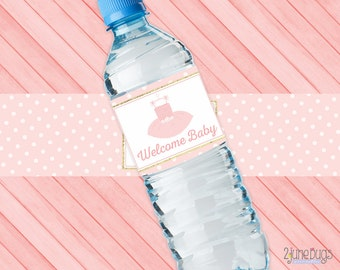 Tutu Water Bottle Labels for Baby Shower, Welcome Baby, It's a Girl, 1 blank/editable, Pink Gold Ballet Shower, PRINTABLE INSTANT DOWNLOAD