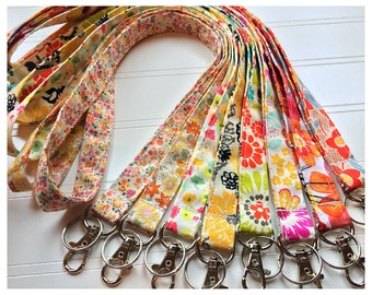 Lanyard, Fabric Lanyard, ID Badge Holder, Key Holder - Choose your design [9-16]