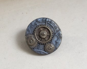Steampunk resin lapel pin