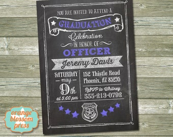Police Academy Graduation, Sheriff Graduation, Corrections Officer Graduation, Officer Chalkboard Invitation