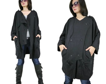 Oversize Double Breasted Infantry Jacket In Black Cotton Polyester Jersey Women Jacket With 2 Pockets Size 6 To Size 14