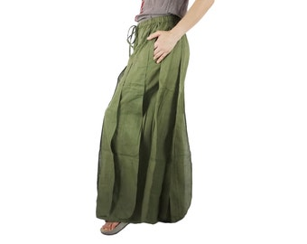 Ocean Breeze....Chic Boho Funky Kelp Forest Striped Detail Army Green Light Cotton Pants With Elastic Waist