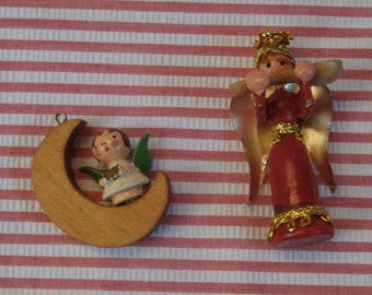 Wooden Angels Christmas Ornaments, Wood Angel on Moon and Standing with Musical Instrument, Sweet Vintage