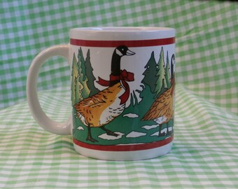 Christmas Canada Goose Coffee Mug, Vintage Geese in Bows, Houston Foods 1986, Holiday Theme