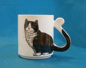 Vintage Black and White Tuxedo Cat Coffee Mug, Tail Handle Action Japan