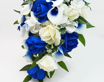 Cascade Bridal Bouquet Groom's Boutonniere - Blue Picasso Callas Real Touch White Royal Blue Roses, Rhinestones - Customize for your Colors