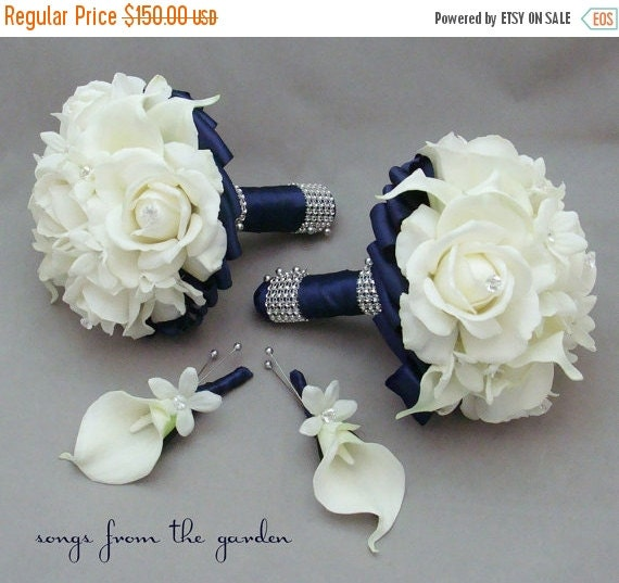 Winter Sale Navy Wedding Flower Package Bridesmaid Bouquets Groomsman