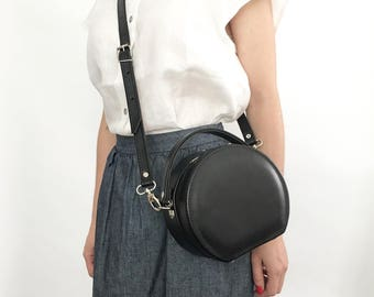 Peggy Mini Circular Faux Leather Structured Box Bag (Handmade to Order)