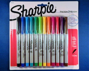Set of 12 Ultra-Fine Color Sharpie Markers - New