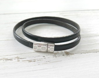 Black Leather Wrap Bracelet / Black Leather Cuff / Women's Leather Bracelet / Leather Jewelry /Boho Cuff Bracelet /Minimalist Spring Fashion