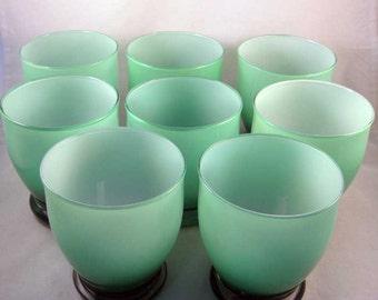 Vintage Mid-Century Modern Green/White Drinking Glasses (8)