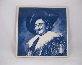 """Vintage Delft Bleu Blue Don Quixote Tile Hand Painted 5-7/8"""" X 5-7/8"""""""
