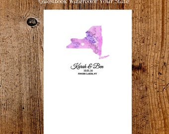 Wedding guest book States map  alternative Wedding guest book long distace realtionship  large size custom colors ready