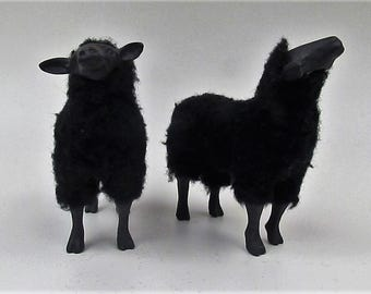 Doll House Scale Black Sheep in Porcelain and Wool  2