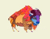 Sloppy Joe the Buffalo Bison in Full Colored Coat Print