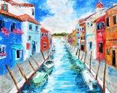Custom original oil painting Venice by Karen Tarlton - reserved for Tami final payment