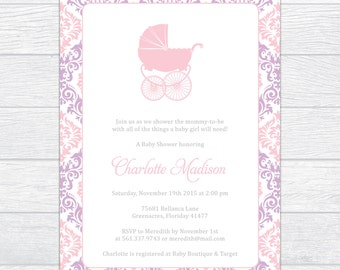Magnificent Damask Baby Girl Shower Invitation, Personalized Baby Shower Invitation, Printable Baby Shower Invite, Elegance Baby Girl Shower