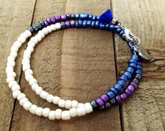Beaded Wrap Bracelet, Mini Tassel Bracelet, Dainty Boho Choker, Charm Bracelet, Gift for Her, Boho Wrap Bracelet, Best Friend Gift