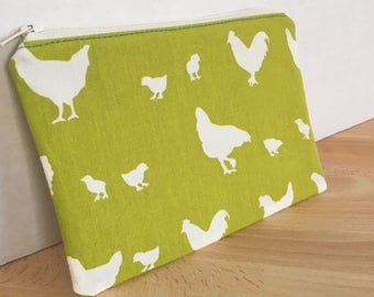 Eco-Friendly Farmers Market Green Bag with Chickens & Teal Birds with Organic Fabric