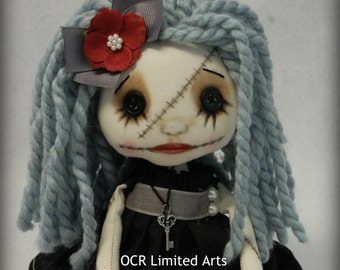 Gothic doll CELESTE Rag Goth Tattered spooky cute emo collectible home decor Stitches Broken china gift Handmade Art Doll OOAK