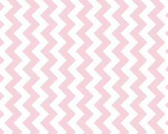 """SALE BABY PINK Small Chevron - Extra Wide 58"""" Fabric - Riley Blake Manufacturer's Cut Mc - 1 Yard Cut - Bty Pink Chevron"""