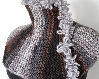 Gray Brown Black Color Stripes Knitted Capelet Collar Cowl Loopy Yarn TrimTurtleneck Scarf Gaiter with Buttons