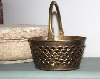 Heavy Brass Basket w/ Hinged Handle Vintage - Nice Patina 7 Inches Long