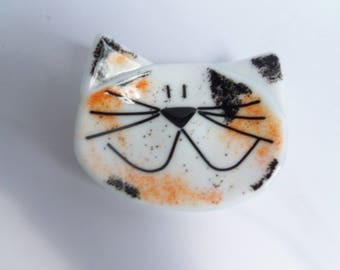 Calico Cat // Fused GLass Dish // Pet // Friend // Cute // Fun // Whimsical // Colorful  //  Trinket // Rings // Bright // Small // Display