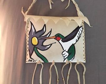 Native American Made Hummingbird Parfleche bag Rawhide  medicine bag deer pow wow regalia
