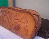 Vintage Hand Tooled Leather Clutch Purse, Handbag, Mid Century, 60s, Make Up Bag, Floral Pattern