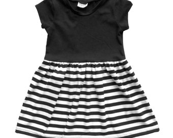 Play dress | Black and White Stripe | 3 Months to 7/8 | 2 Sleeve Options | girls dress, baby girl dress, baby dress, stripes