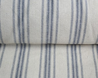 Grain Sack Fabric by the Yard- Blue Stripes