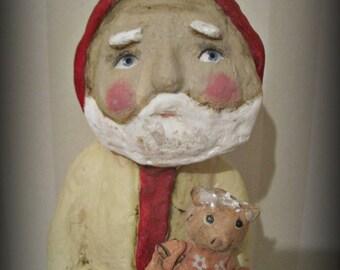 Folk art - Santa Claus - paper mache- handmade art doll- OOAK doll-papier mache
