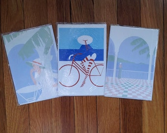 3 1980s Greeting Cards, Blank, Woman, Bicycle, Richard Akerman, Unused
