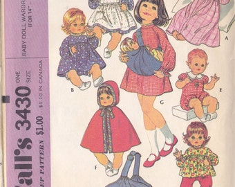 Baby Doll Wardrobe & Carrier Pattern Mc Call's 3430 ~ Ensemble For 14 ~ 15 Inch Doll ~ Cape ~ Dress ~ Romper ~ Doll Carrier Cut But Complete