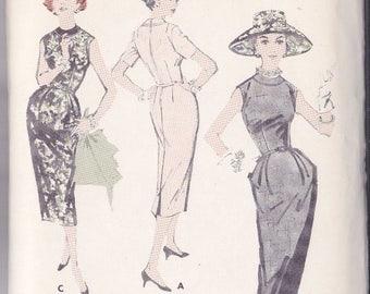 Vintage Misses Slimline Basic Dress Pattern - Butterick No.8196 Size 14 - Banded Neckline - Cut But Complete