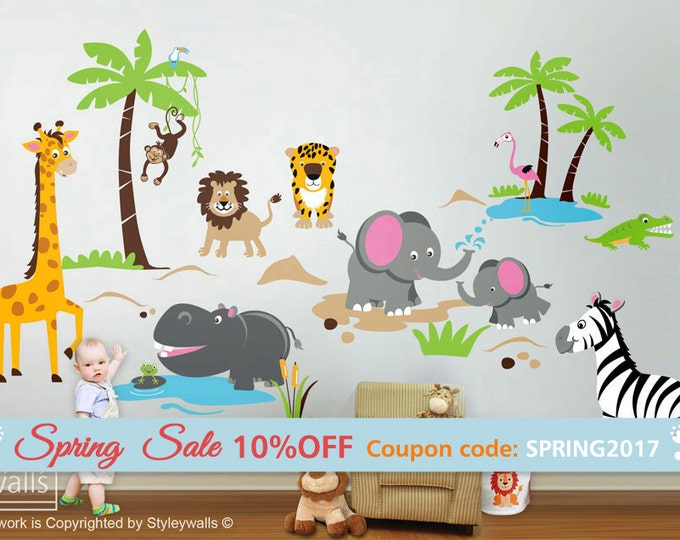 Safari Jungle Animals HUGE Wall Decal Set Monkey Giraffe Elephant Lion Zebra Tiger Crocodile Hippo Nursery Kids Playroom Room Sticker Art